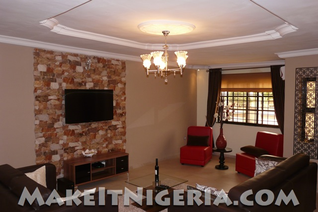 Fola s place fp1 rental luxury serviced apartment ikeja for Living room decoration in nigeria
